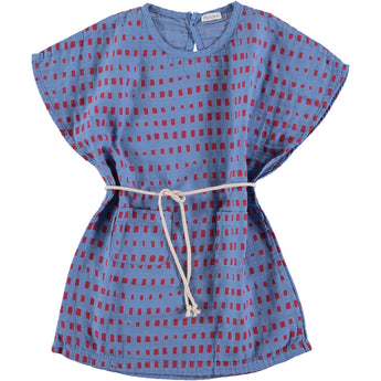 Belted Tunic Dress, Blue with Red Squares