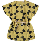 Belted Tunic Dress, Yellow with Sand Clocks