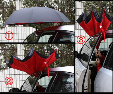 Inside Out Reverse Folding Umbrella Inverted Open & Close No Drip For Car