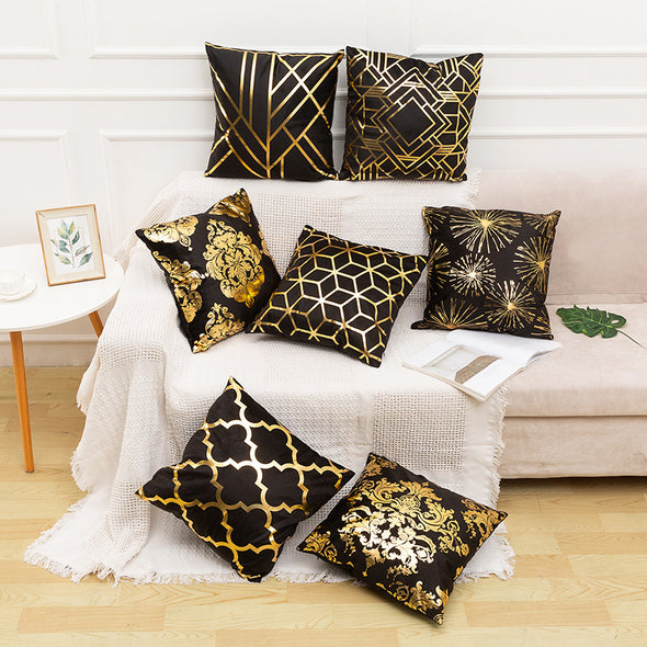 Gold Foil Throw Pillow Case Cushion Cover 18 x 18 inches 45 x 45 cm(Pattern No.50~67)
