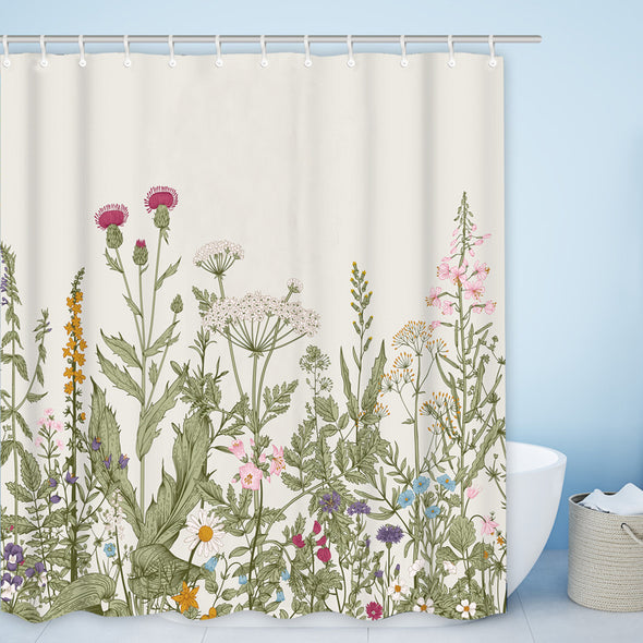 Leaves and Flowers  Bathroom Shower Curtains
