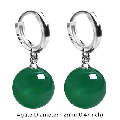 10mm-12mm Gemstone Drop Dangling White Gold Plated Sterling Silver Hoop Earrings for Women