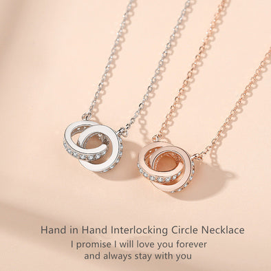 2020 New Design S925 Silver Hand in Hand Interlocking Circles Pendant Necklace