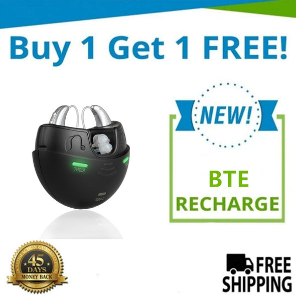 🔥 ON SALE: Buy 1 New BTE Model X2 Recharge Hearing Aid And Get The Second Ear FREE! Plus Get a FREE Portable Charging Case Worth $95!