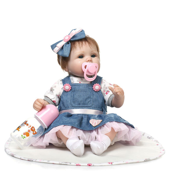 reborn baby doll with denim skirt