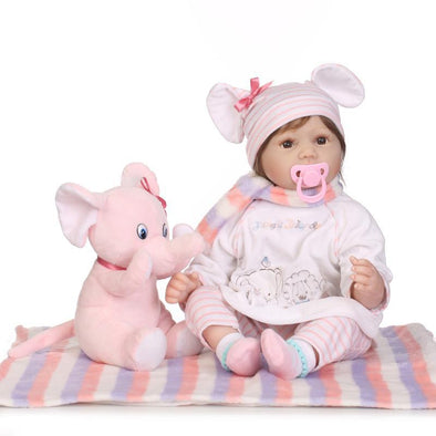 Reborn Baby Dolls 22  inch with elephant plush toy free