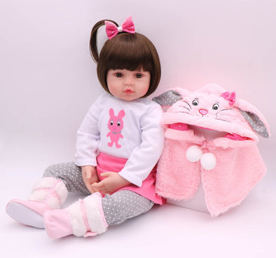 REBORN BABY DOLL WITH PINK RABBIT COAT