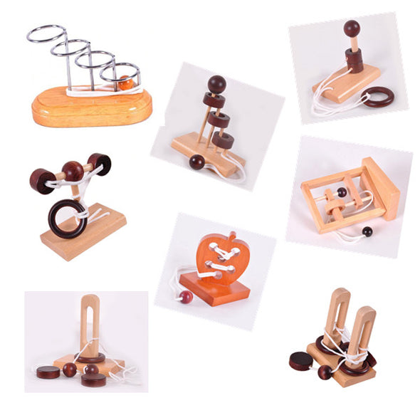 Brain Teasers Toy-3D Wooden Rope Puzzles
