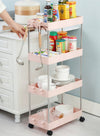 3/4 Tiers Slim Organizer Cart with Wheels for Narrow Space