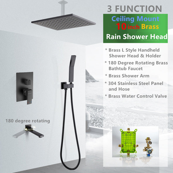 Luxury Matte Black Shower System with 180 Degree Rotating Tub Sprout