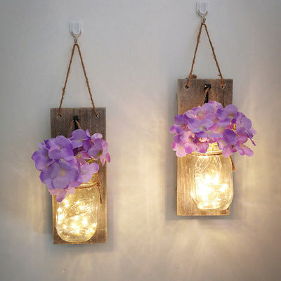 Mason Jars Sconce with Artificial Flowers and LED Strip Lights Design  (Set of 2)