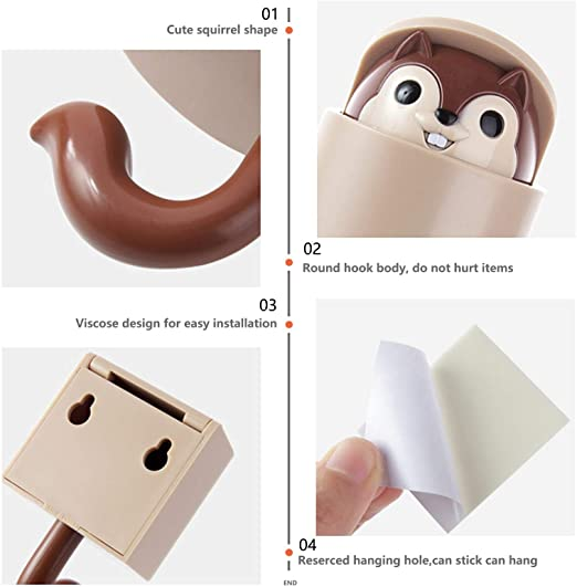 Squirrel Shape Adhesive Hook for Children's Room Living Room Bedroom