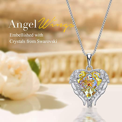 CDE Angle Wing Love Heart Necklaces for Women Yellow(Sterling Silver) Small