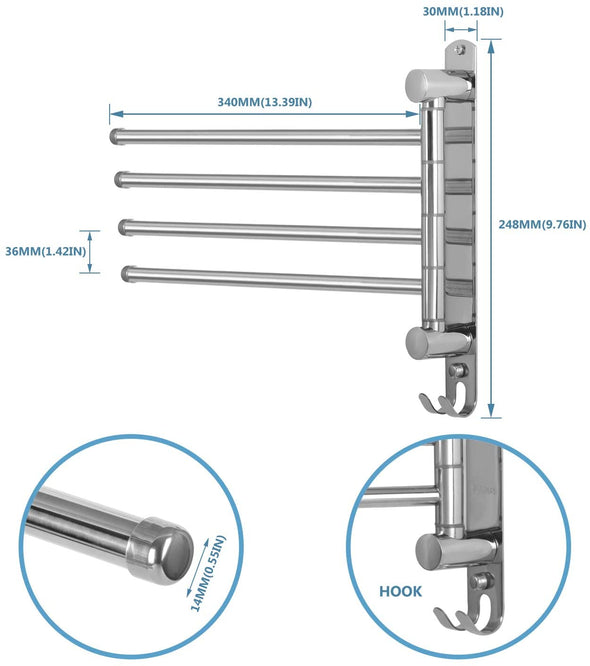Stainless Steel Swivel 4-Arm Towel Bar