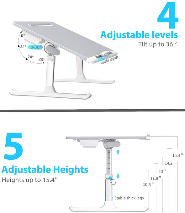 X-Large Foldable and Adjustable Laptop Stand with Storage Drawer