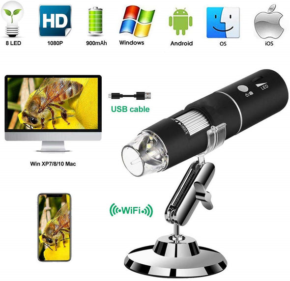 Wireless Digital WiFi USB Microscope 50X To 1000X