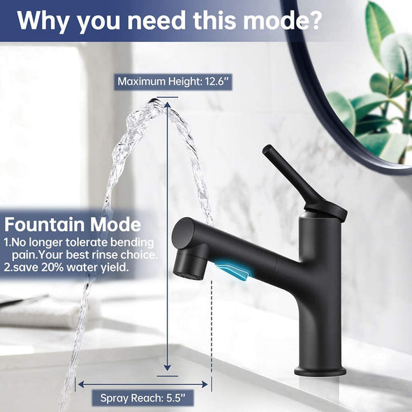 2020 New Design Three Water Flow Modes Bath Faucet with Pull Out Sprayer