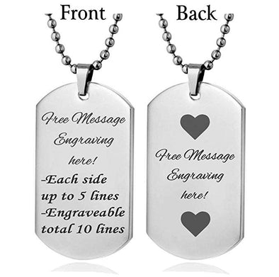 Personalized Stainless Steel Necklace Dog Tag