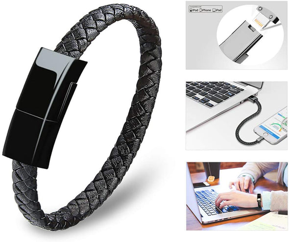 Portable Charging Cable Bracelet For iPhone/Android/Type C-Black