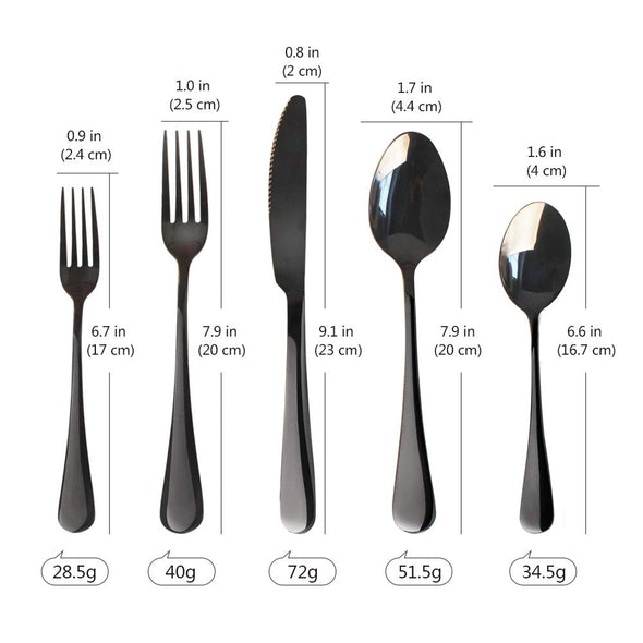 20-Piece Black Stainless Steel Flatware Cutlery Set for 4
