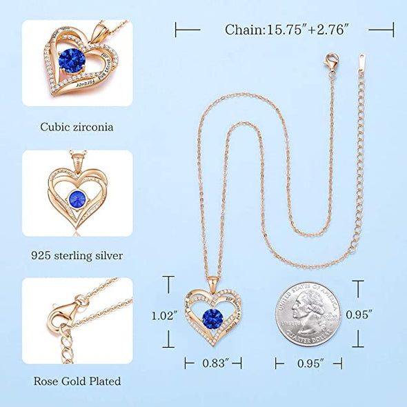 CDE Forever Love Heart Necklace Rose Gold | Sep