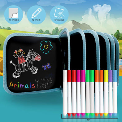Portable Erasable Drawing Pad with 12 Colored erasable pens