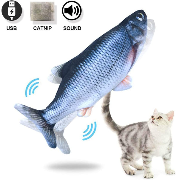 Electric Fish Cat Toy Perfect for Biting, Chewing and Kicking, Moves by Itself