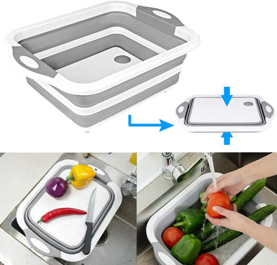 Collapsible Cutting Board with Colander - Foldable Multi-function Kitchen Plastic Silicone Dish Tub
