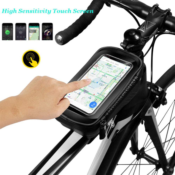 Waterproof Bicycle Front Frame Top Tube Bag with Touch Screen Holder Case