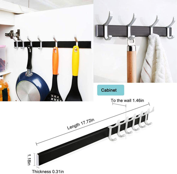 Wall Mounted Aluminum Adjustable Coat Rack with 6 Double Hooks