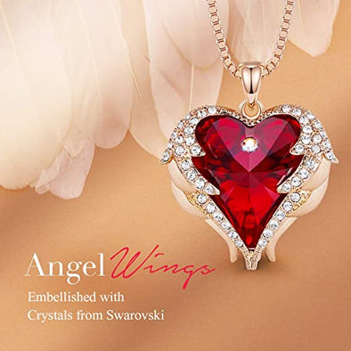 CDE Angle Wing Love Heart Necklaces for Women Rose Gold | Red (Brass)