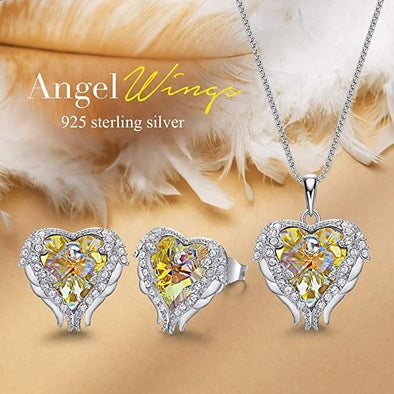 CDE Angle Wing Love Heart Necklaces and Earrings Jewelry Set Sterling Silver | Yellow