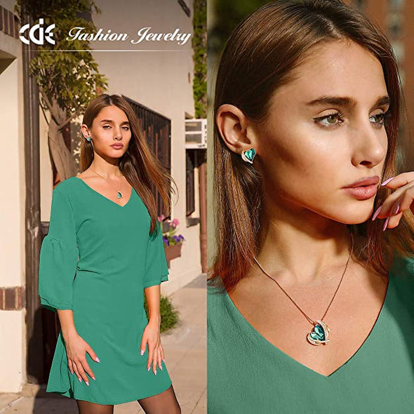 CDE Love Heart Pendant Necklaces for Women Rose Gold | Green