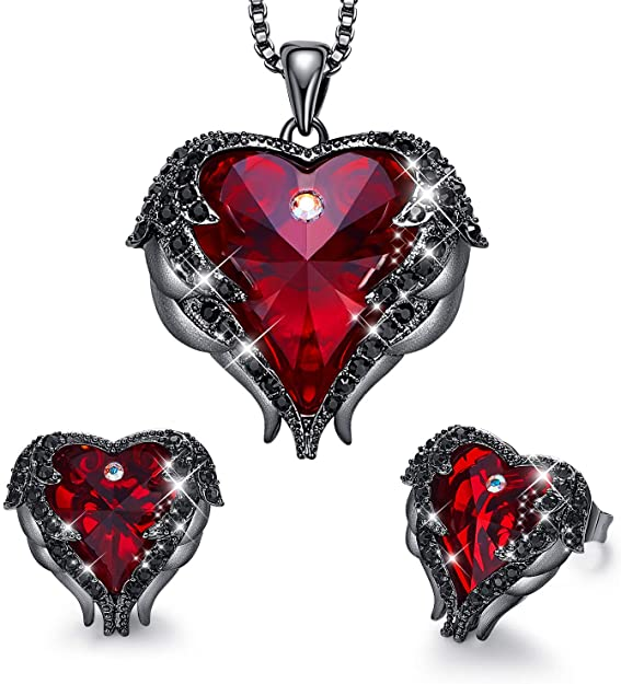 CDE Angle Wing Love Heart Necklaces and Earrings Jewelry Set Gun Black | Red