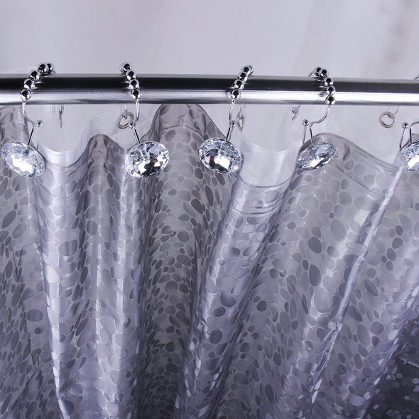 Diamond Shape Stainless Steel Shower Curtain Hooks-Set of 12