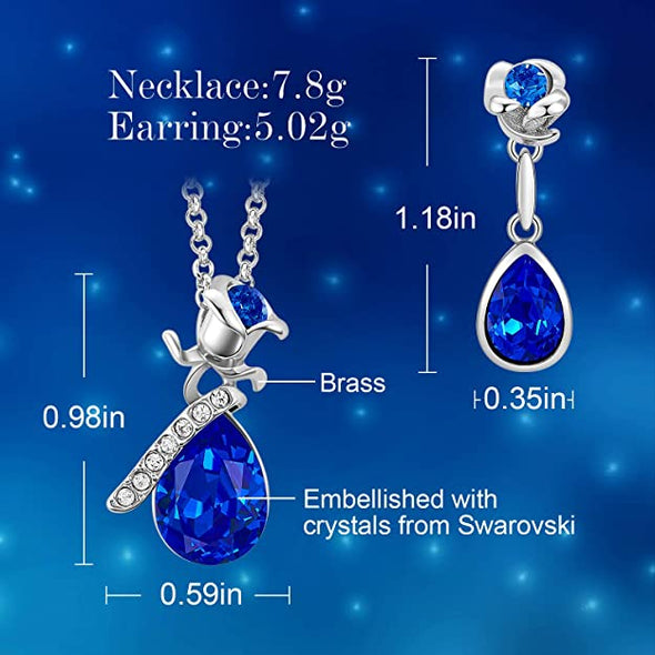 CDE Women Rose Flower Necklaces and Earrings Jewelry Set White Gold | Blue
