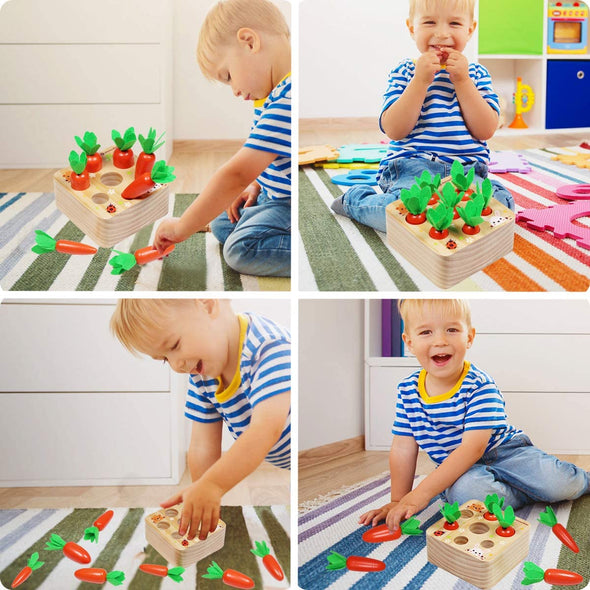 Carrots Harvest Shape Size Sorting Developmental Montessori Toys for 1 2 3 Year Old Boys and Girls