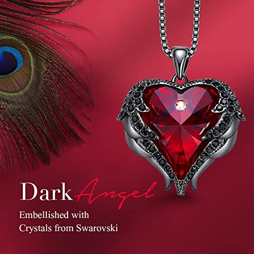 CDE Angle Wing Love Heart Necklaces for Women Dark Red (Brass)
