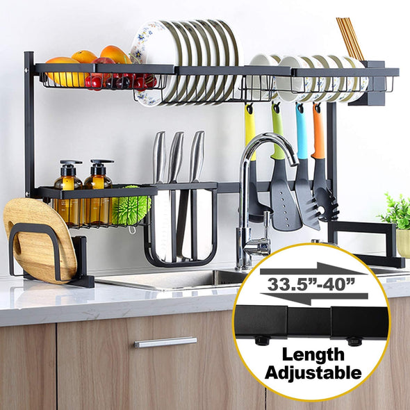 Adjustable Stainless Steel Dish Drying Rack Over Sink