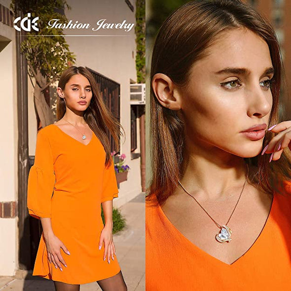 CDE Love Heart Pendant Necklaces for Women Rose Gold | White