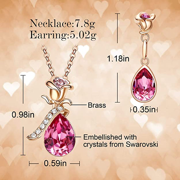 CDE Women Rose Flower Necklaces and Earrings Jewelry Set Rose Gold | Pink