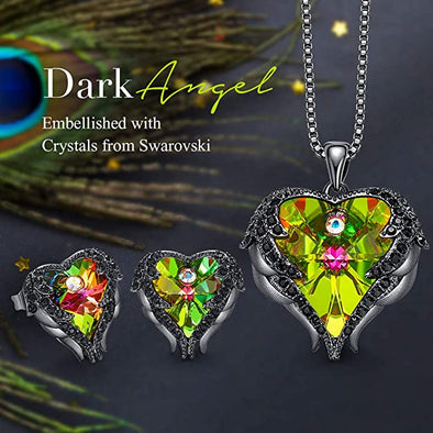 CDE Angle Wing Love Heart Necklaces and Earrings Jewelry Set Gun Black | Colorful