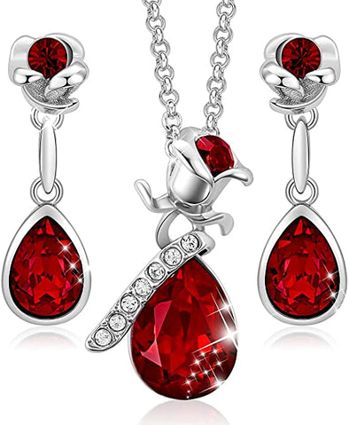 CDE Women Rose Flower Necklaces and Earrings Jewelry Set White Gold | Red