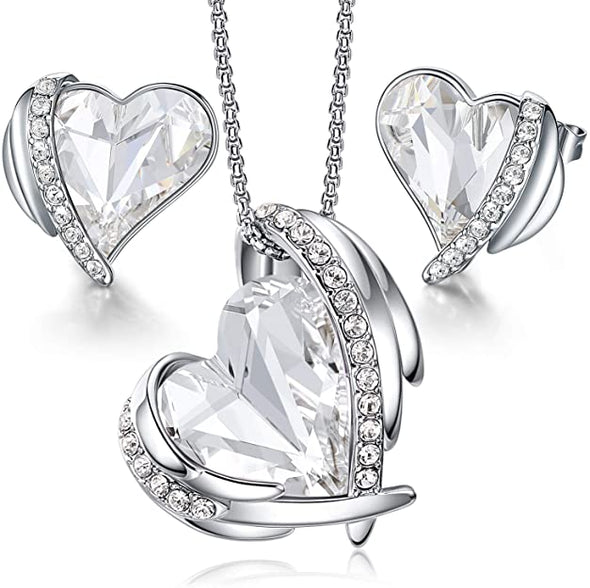 CDE Women  Love Heart Necklaces and Earrings Jewelry Set White Gold | White