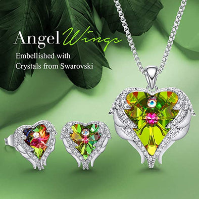 CDE Angle Wing Love Heart Necklaces and Earrings Jewelry Set White Gold |Colorful