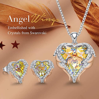 CDE Angle Wing Love Heart Necklaces and Earrings Jewelry Set Rose Gold | Yellow