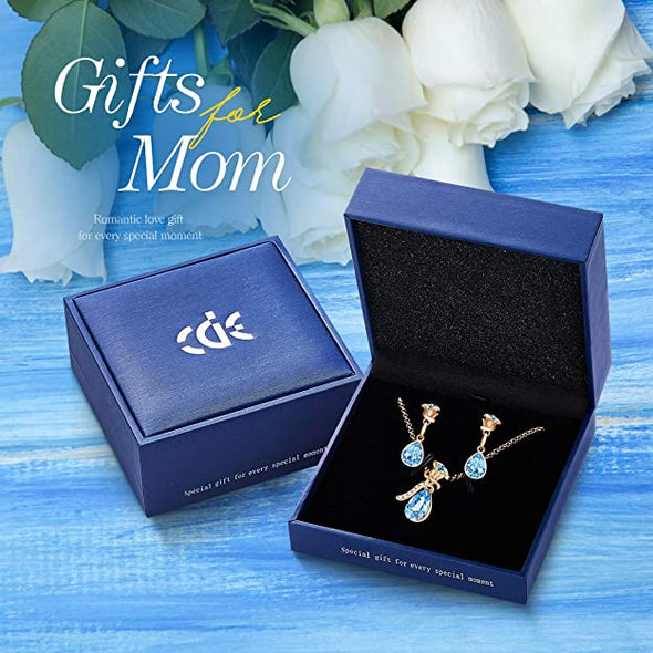 CDE Women Rose Flower Necklaces and Earrings Jewelry Set Rose Gold | Blue