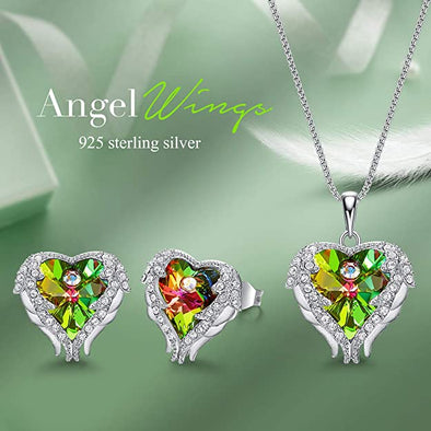 CDE Angle Wing Love Heart Necklaces and Earrings Jewelry Set Sterling Silver | Green