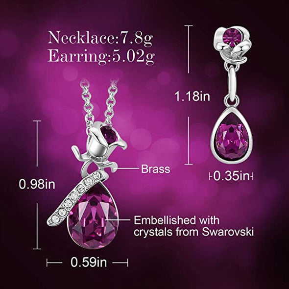 CDE Women Rose Flower Necklaces and Earrings Jewelry Set White Gold | Purple