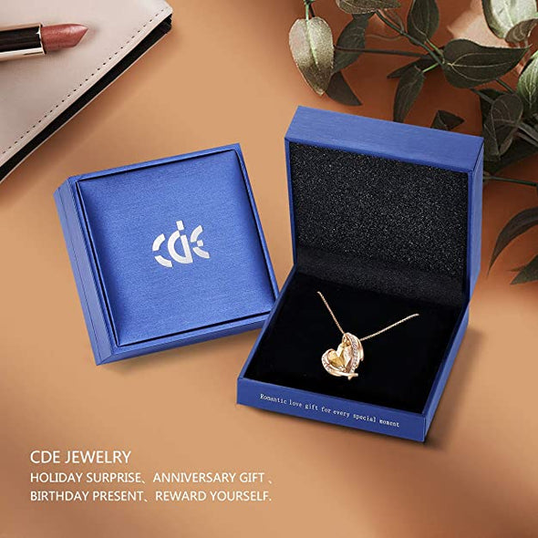 CDE Love Heart Pendant Necklaces for Women Rose Gold | Topaz